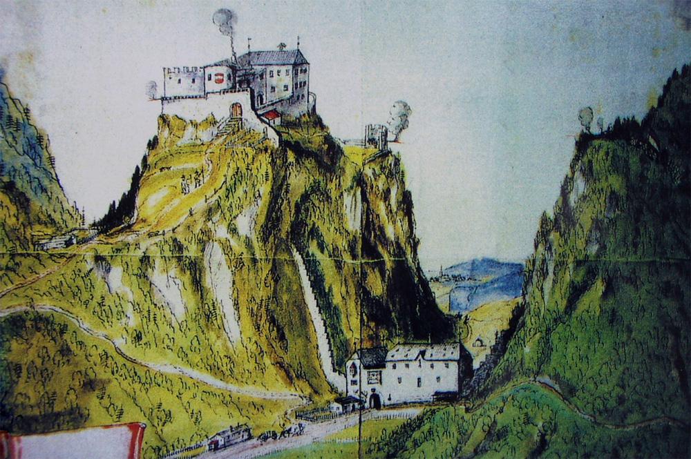 Zeitgenössische Zeichnung der Beschießung der durch die Schmalkalden besetzten Burg Ehrenberg durch die Tiroler