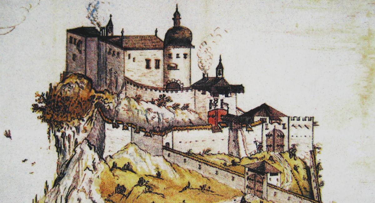 zeitgenössische Zeichnung der Burg Ehrenberg vor ihrem Ausbau