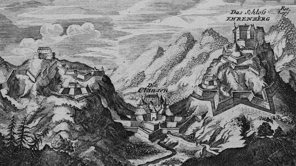 Skizze der Ehrenberger Festungsanlage für den Ausbau durch den Festungsbaumeister Elias Gumpp aus dem Jahre 1639