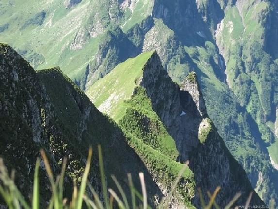 Herrlicher Blick auf die steilen Grasflanken und markanten Zacken vom Himmelhorn, einem Seitengipfel des Schneck im Juli 2007.