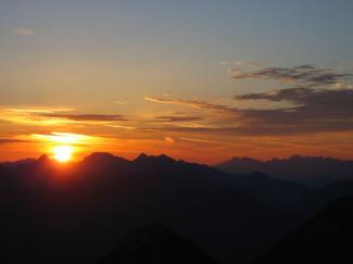 Sonnenaufgang am Brentenjoch