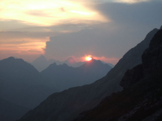 Sonnenuntergang in den Lechtalern