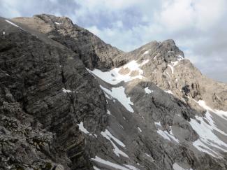 Blick zur Gliegerkarspitze nähe Einstieg Urbeleskarspitze
