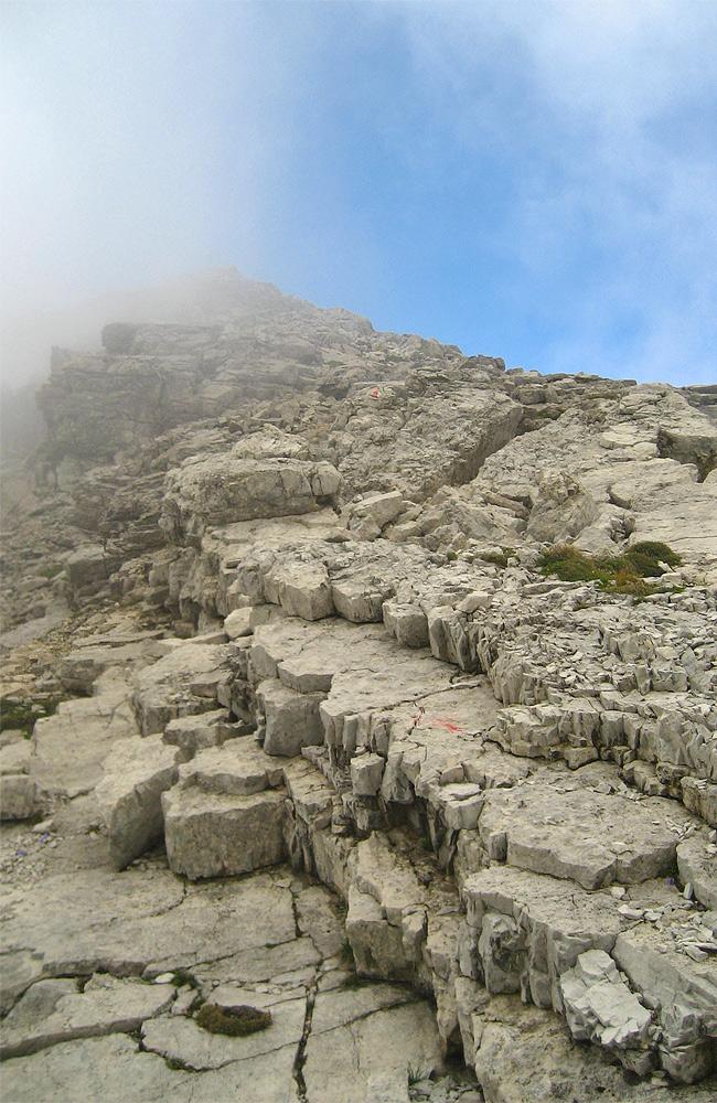 schuttreich gestalten sich die letzten Meter zum Gipfel der Ellbogner Spitze