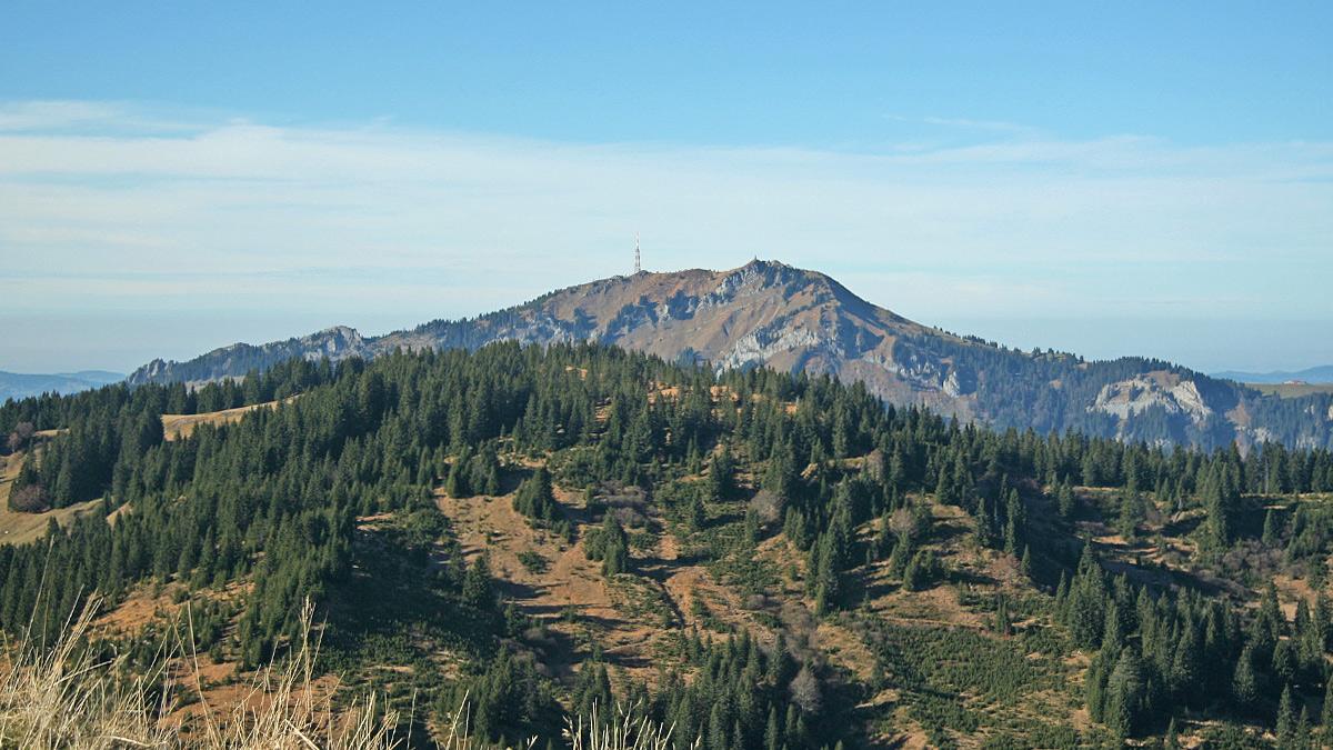 über dem stark bewaldeten Roßkopf erhebt sich der Grünten mit Sendemast und Denkmal am Gipfel des Übelhorns