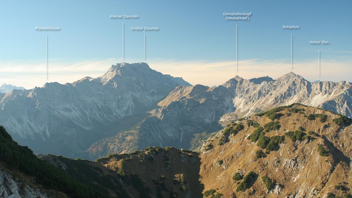 Blick auf die Daumengruppe südlich von Hinterstein