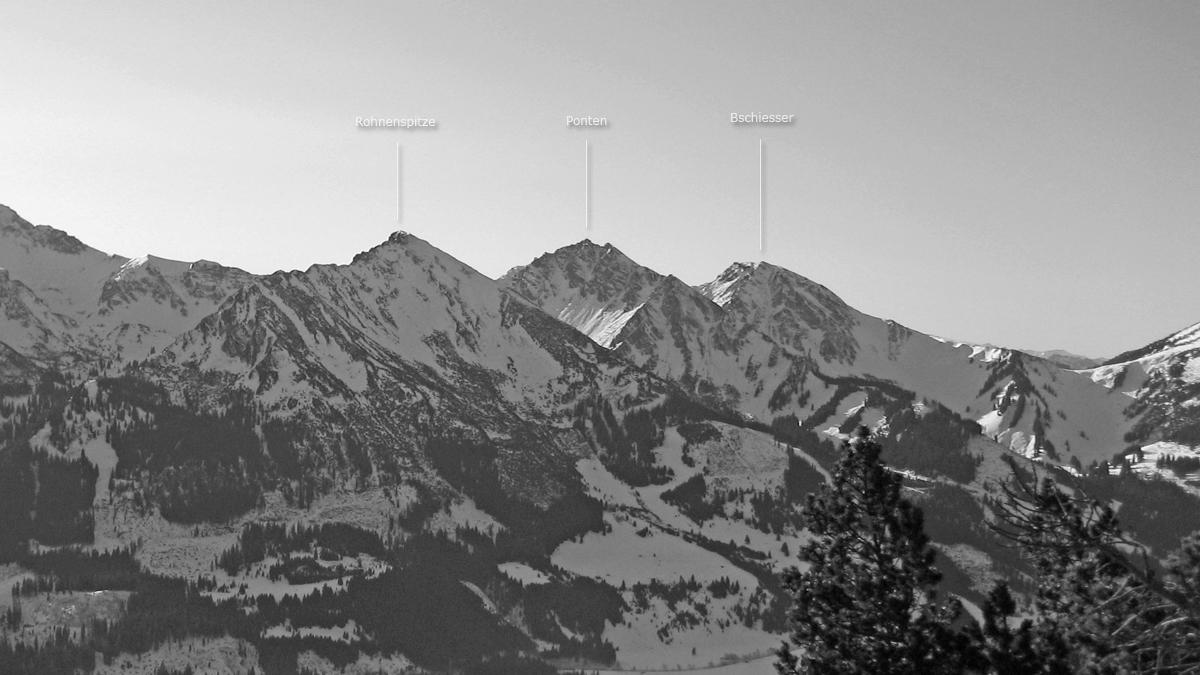 die drei Gipfel über Zöblen und Schattwald