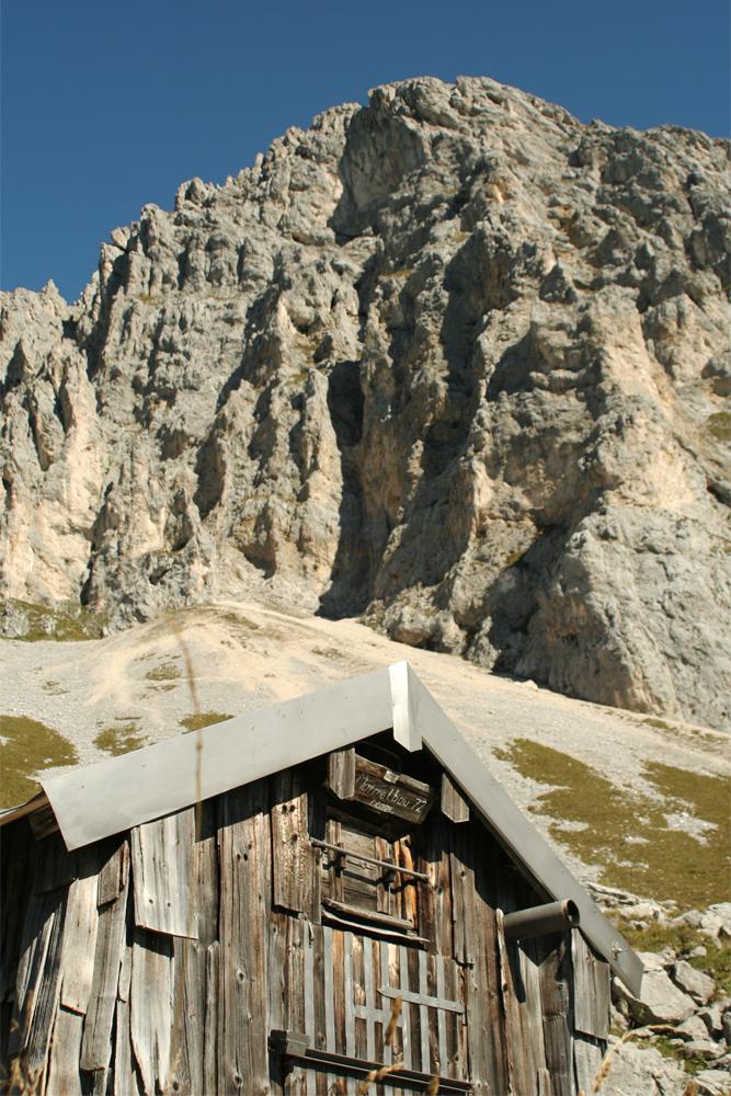 """der sogenannte """"Murmelebau"""" unterhalb der Köllenspitz-Südwand"""