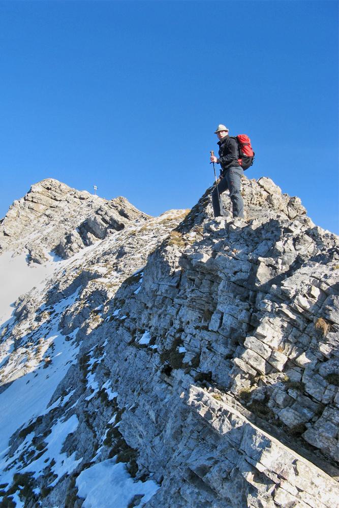 unterwegs am Westgrat der Hochschrutte (Plattberg) in Richtung Gipfel