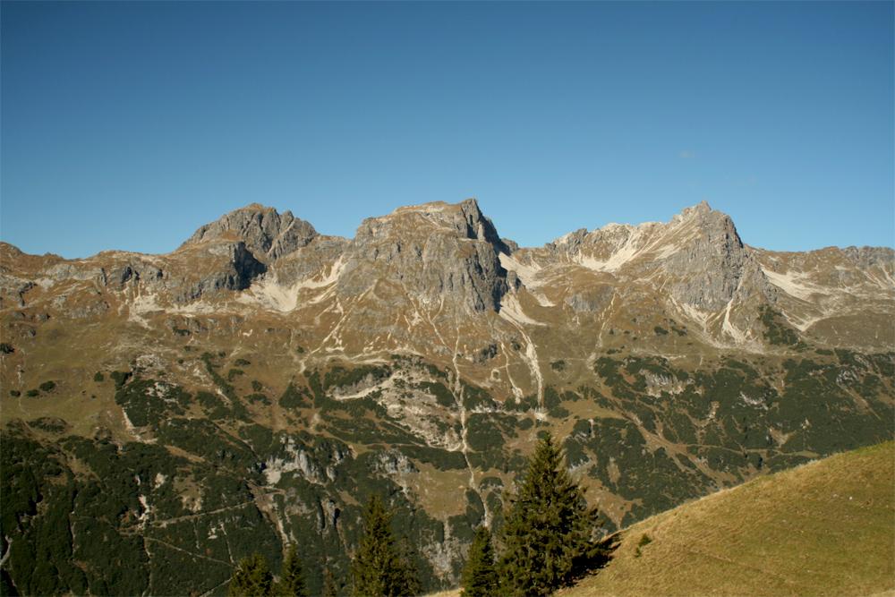 Blick aus Südost auf die Schafalpenköpfe über dem Rappenalpental
