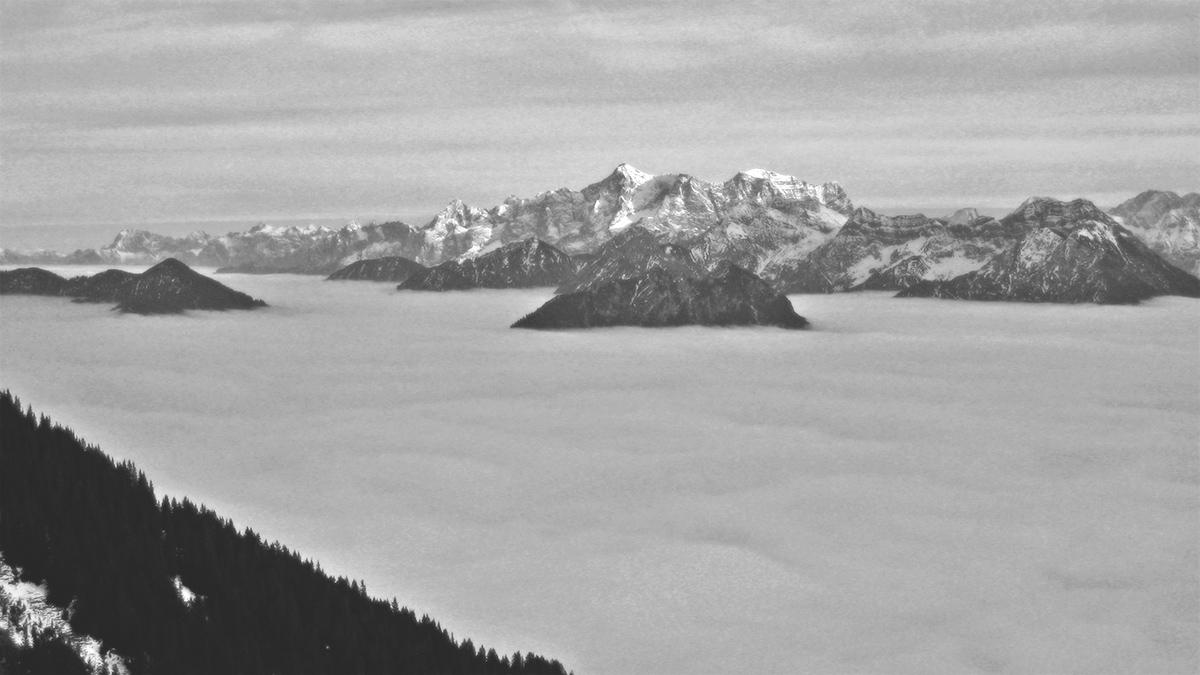 Ausblick vom Gehrenjoch auf das Nebelmeer über dem Reuttener Talkessel, einzelne Gipfel der Ammergauer Alpen ragen wie Inseln aus der Nebelschicht, im Hintergrund das Wettersteinmassiv mit der Zugspitze
