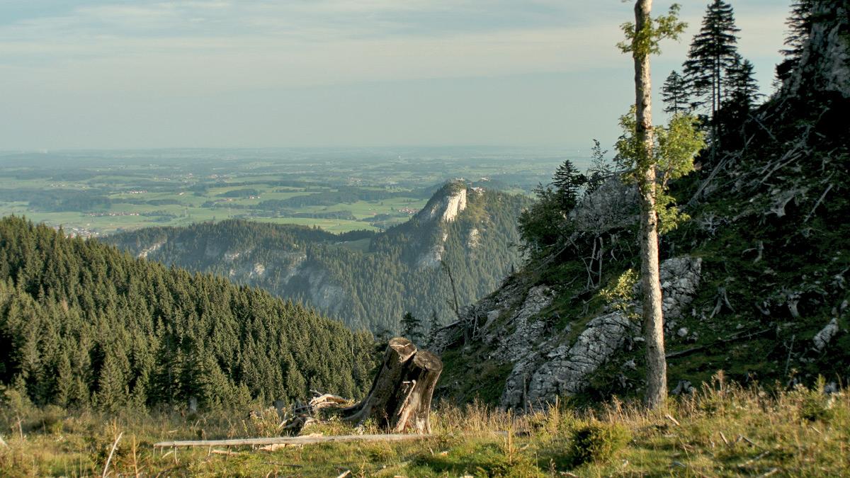 im Westen steigt der Manzengrat zum Falkenstein auf - früher Manzenkopf genannt - um dort in den Zirmgrat über zu gehen