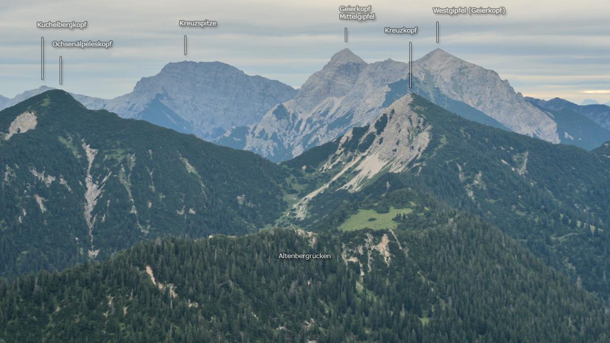 die Gipfelreihe über dem Ammerwald