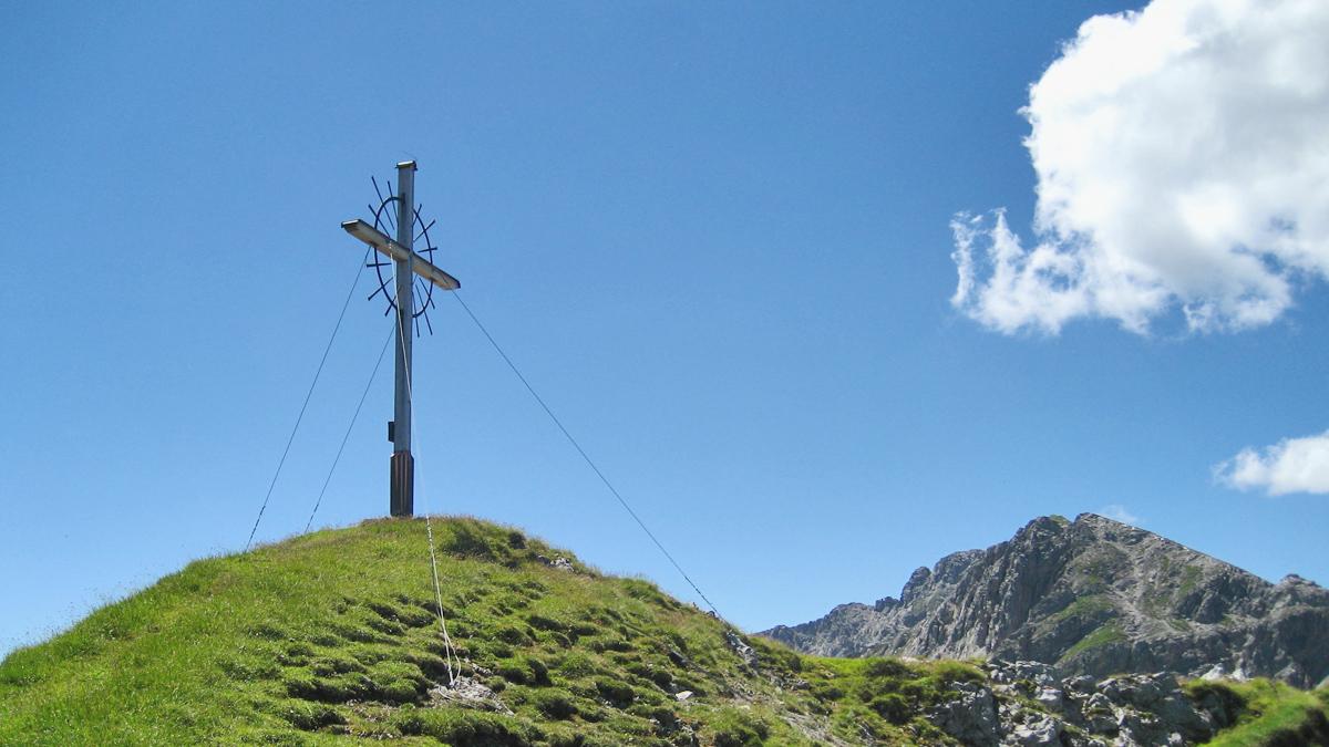 am Gipfel des Östlichen Kreuzjoches