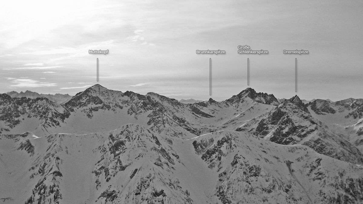der Gipfelblick gegen Süden