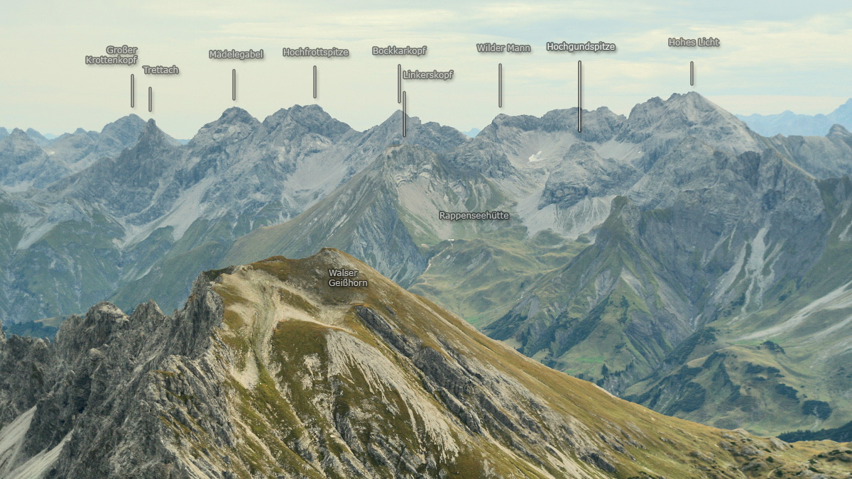 Gipfelblick von dem Großen Widderstein auf den Allgäuer Hauptkamm