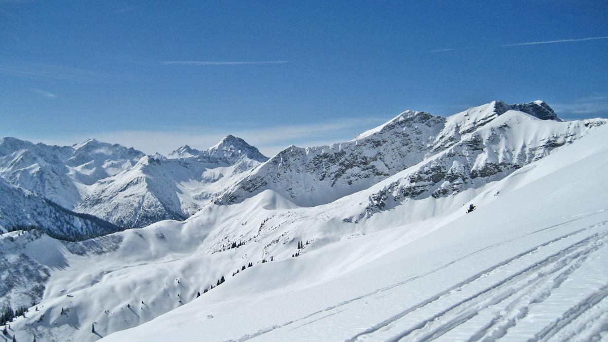 Gipfelblick vom Galtjoch gegen Südwesten - Imster Muttekopf, Namloser Wetterspitze, Knittelkarspitze und Hintere Steinkarspitze