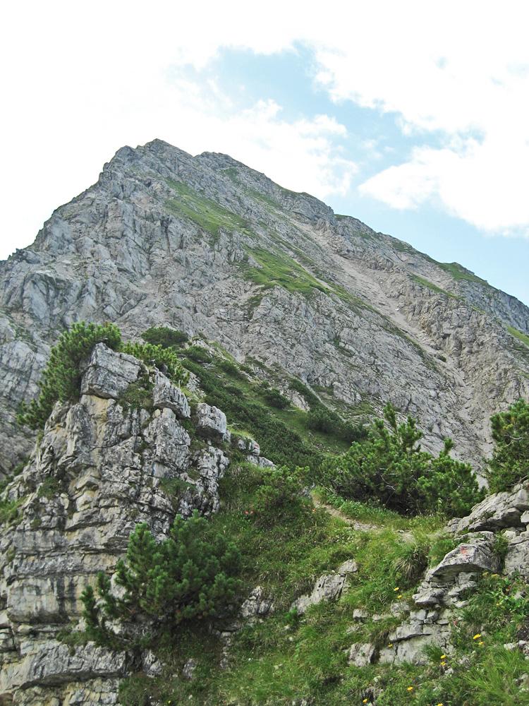 der teils versicherte Aufstieg zum Gipfel der Rotspitze über den Nordgrat