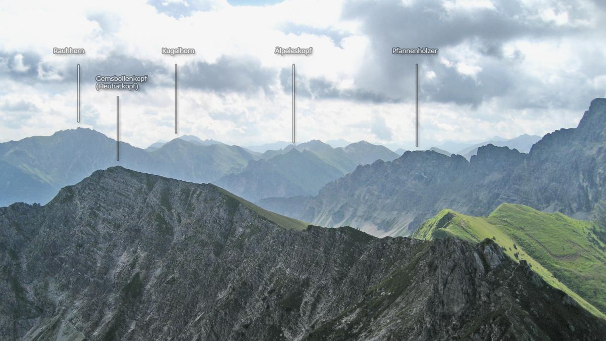 Panoramablick von der Rotspitze gegen Osten