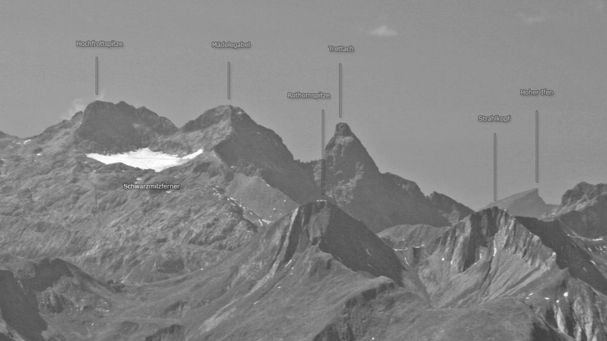 die Gipfel über und um den Heilbronner Weg - der Schwarzmilzferner mit seiner Ausdehnung im Jahr 2006
