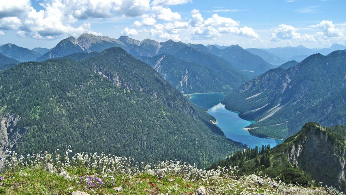 Gipfelblick vom Tauern hinab zum Plansee