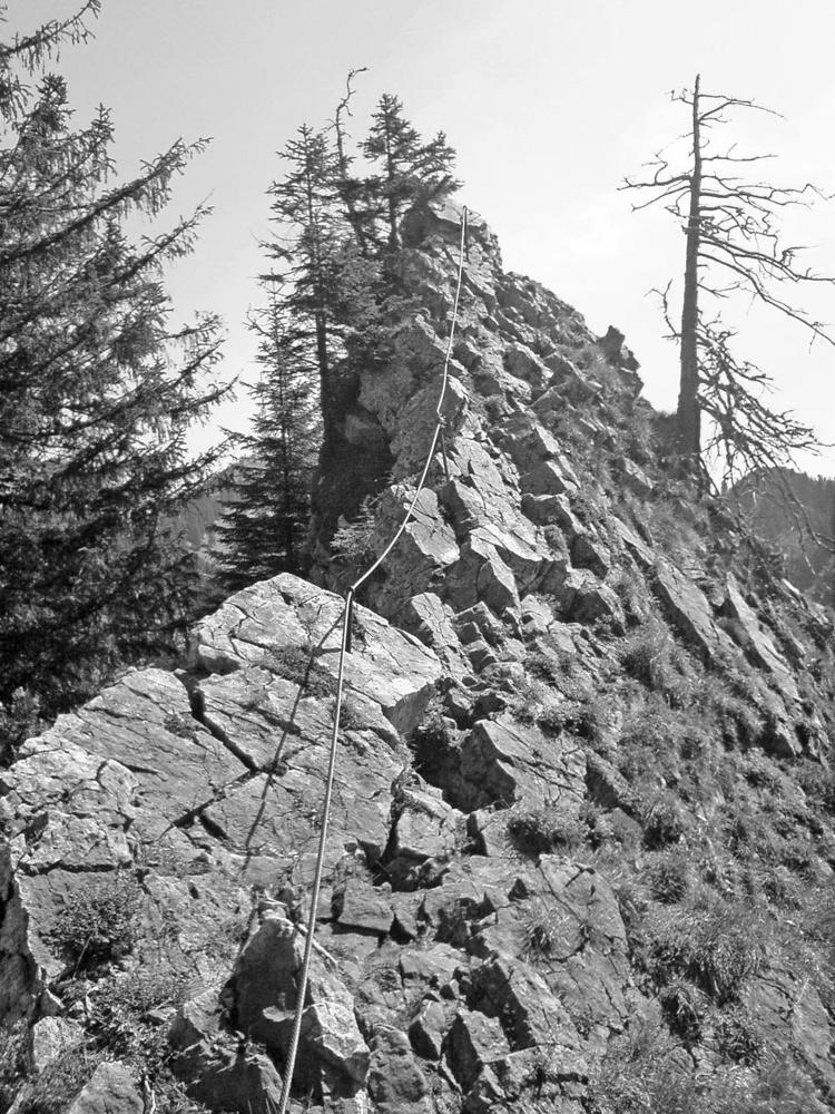 der seilversicherte Gratübergang vom Burgberger Hörnle