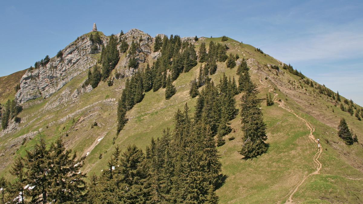 das Gebirgsjägerdenkmal am Gipfel des Übelhornes stellt zugleich mit etwa 1740 Metern auch den höchsten Punkt des Grüntenmassives dar