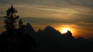 Sonnenuntergang über den Tannheimer Bergen