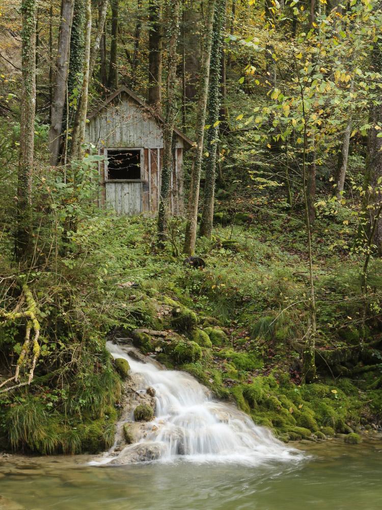 kleine Hütte am Lauf der Oberen Argen im Eistobel
