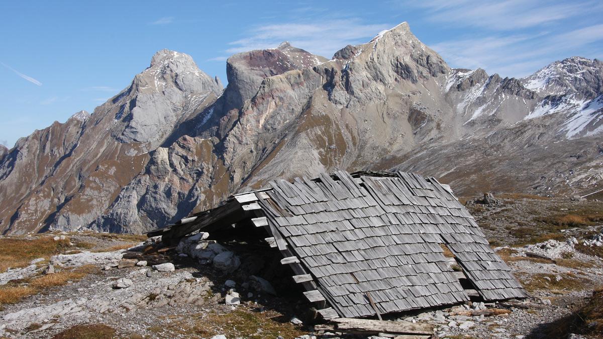 Blick vom Alperschonjoch zu Freispitze, Rote Platte und Rotspitze