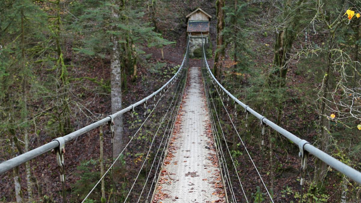 die Hängebrücke Drahtsteg führt am Grund der Schlucht über die Subersach