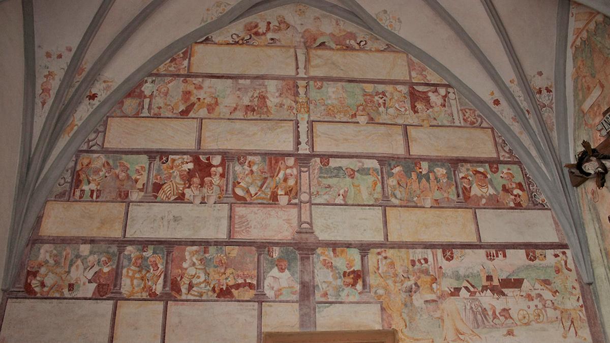 die sogenannte 'Welfengenealogie' in der ehemaligen Prämonstratenser-Stiftskirche St. Johannes Baptist in Steingaden (Welfenmünster)