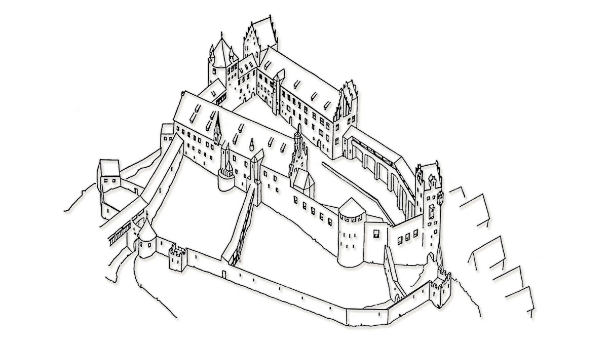 Rekonstruktionsversuch des Hohen Schlosses zu Füssen um 1505 von H.-H. Lautz