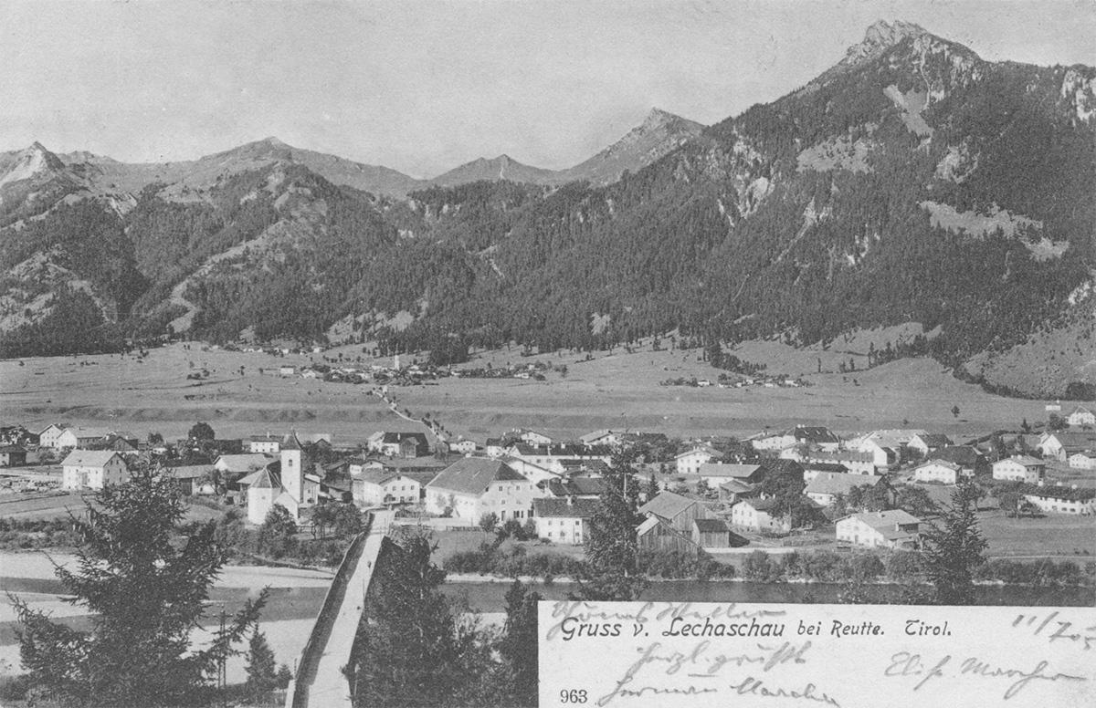 der Ort Lechaschau mit der Lechbrücke um 1900