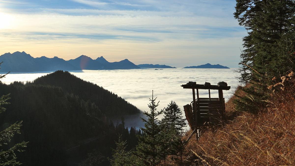 der Jägerstand am Pechkopf mit Blick auf den benachbarten Rohrkopf über dem Nebelmeer