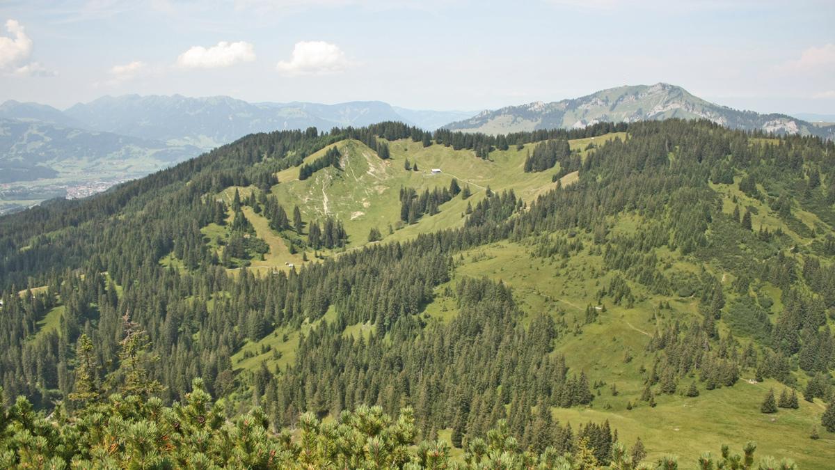 Gipfelblick vom Spieser hinüber zum Boaleskopf und Roßkopf mit den Hütten am Schlierberg - im Hintergrund der Grünten