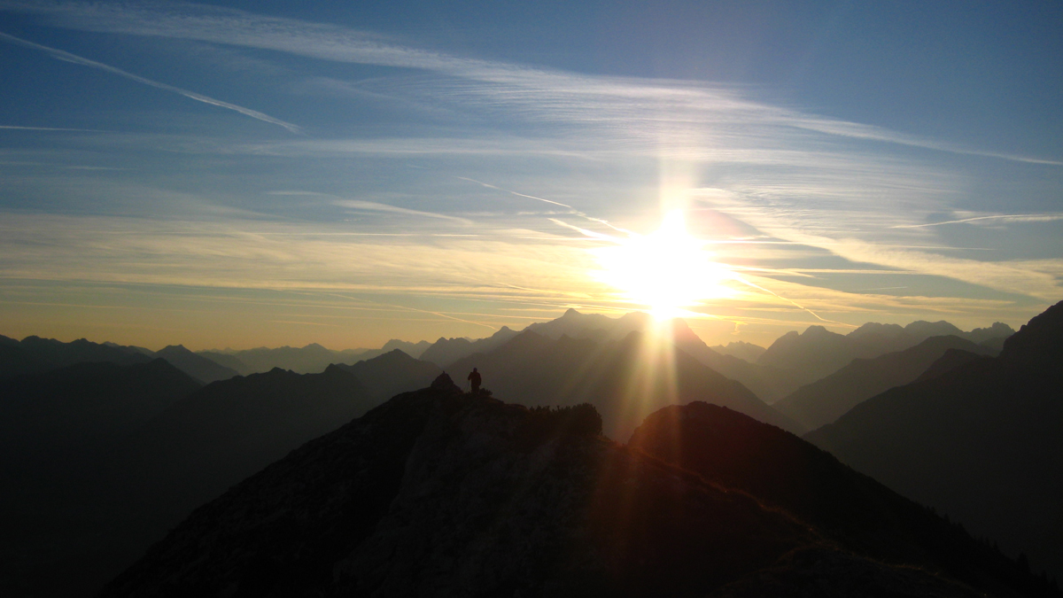 frühmorgens am Gipfel der Gaichtspitze