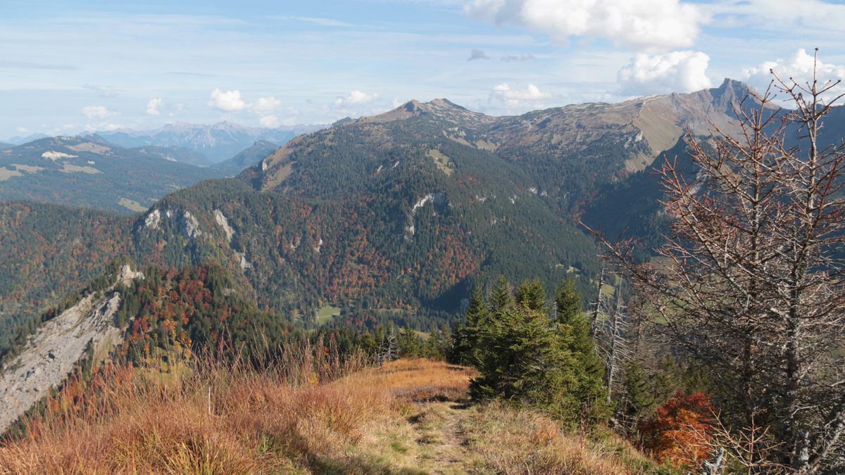 Gipfelblick von der Sienspitze gegen Osten hin zum Hohen Ifen