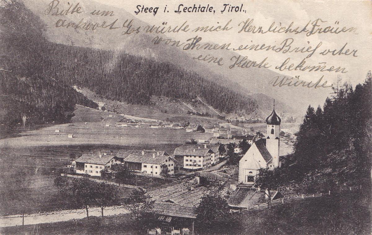 die Lechtaler Gemeinde Steeg (vor 1920)