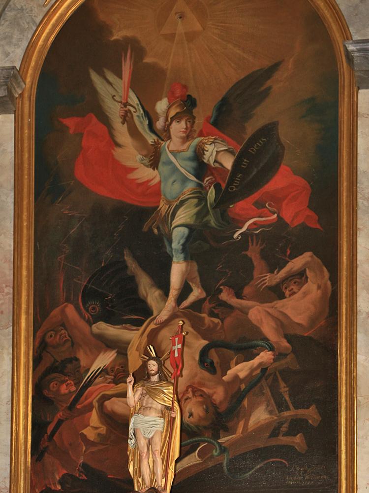 das Hochaltarbild in der Expositurkirche hl. Michael in Stanzach stammt von dem Reuttener Künstler Johann Jakob Zeiller (1777)