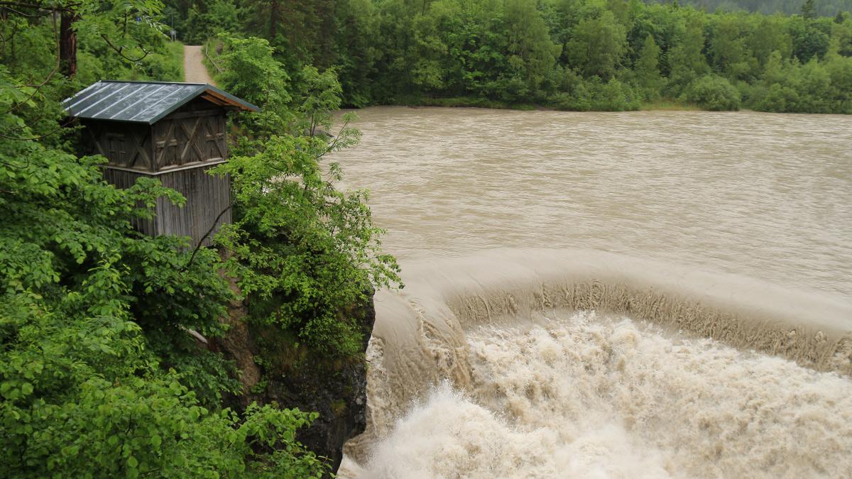 der Lechfall bei Füssen während eines Regentages
