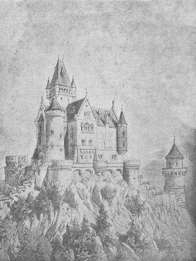 ein Entwurf für den Wiederaufbau der Burg Falkenstein nach der Vorstellung von Ludwig II. - König von Bayern