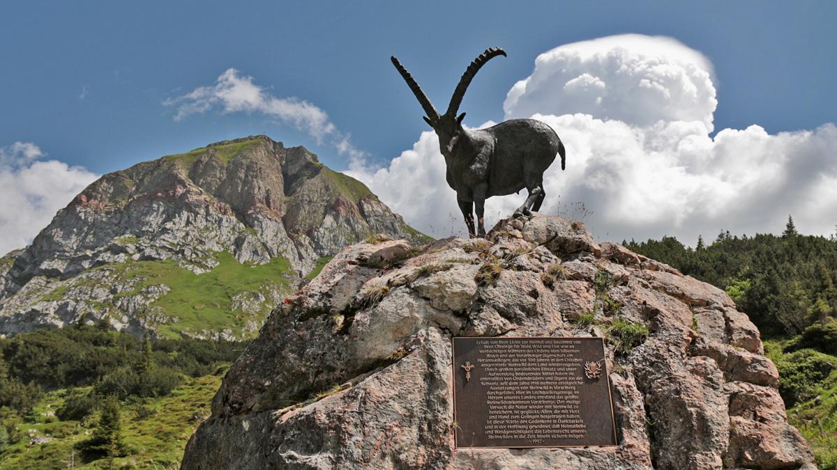 das Steinbock-Denkmal unweit der Formarinalpe erinnert an die Wiederauswilderung der Steinböcke in diesem Gebiet seit dem Jahr 1958 - im Hintergrund der Gipfel des Formaletsch