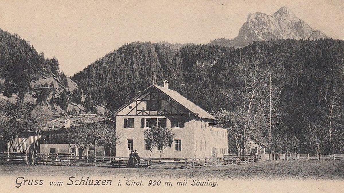 der Gasthof Schluxen bei Unterpinswang (um 1900)