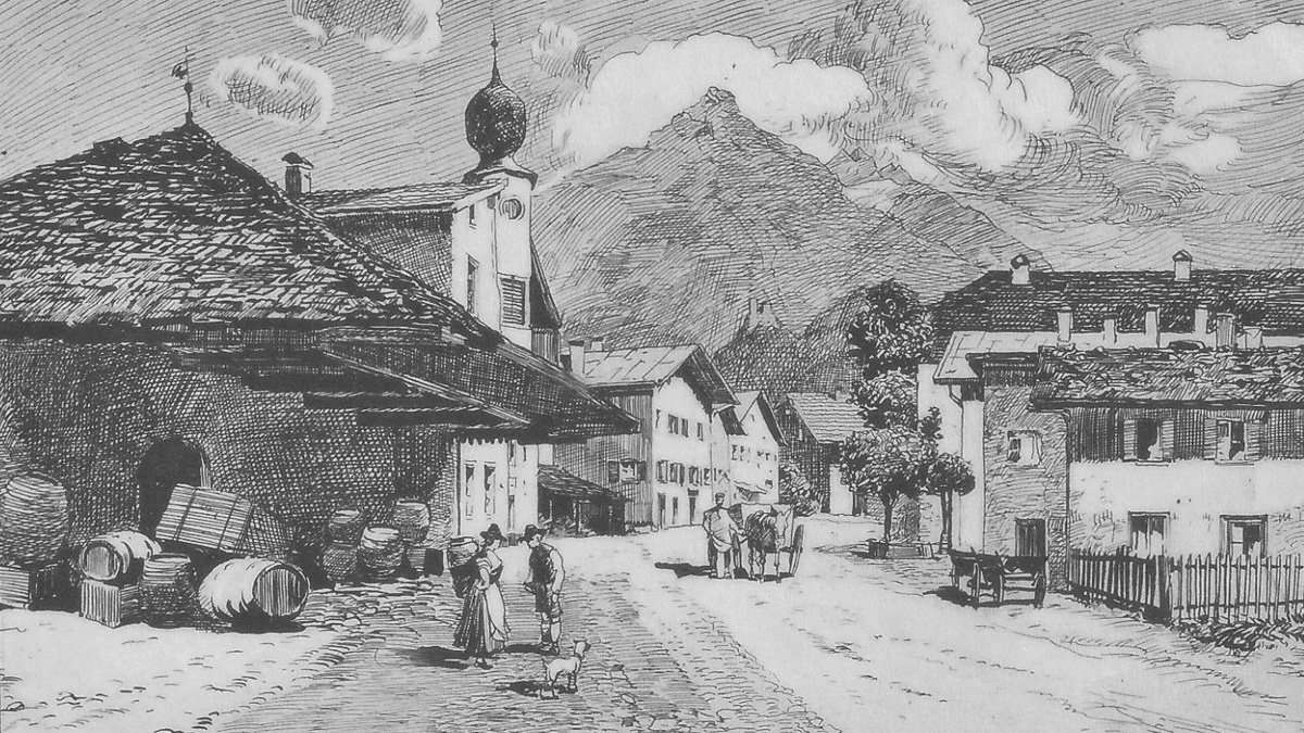 Ansicht des Reuttener Untermarktes um 1900 - Atelier Eugen Felle, Isny