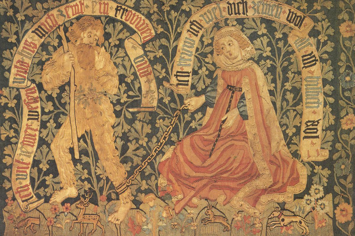 Tugendreiche Dame zähmt Wilden Mann - Zahm und wild, Basler und Straßburger Bildteppiche des 15. Jahrhunderts - (c) gemeinfrei