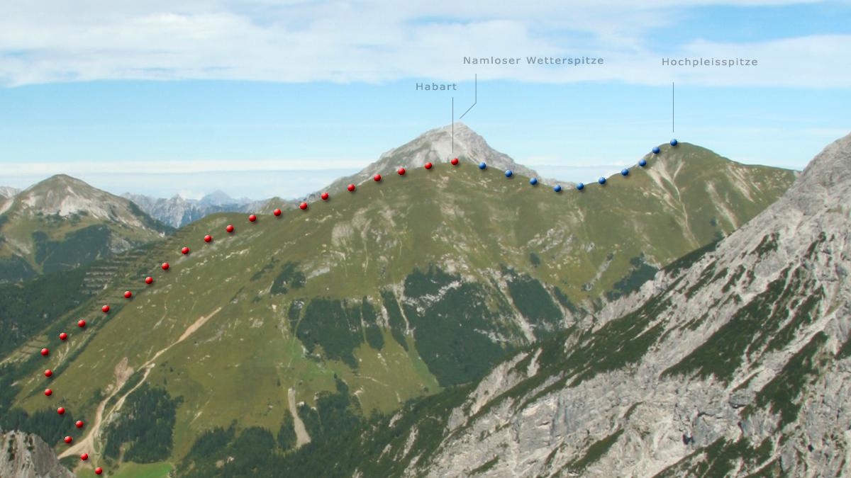 Blick von Süden (Oberes Fundaistal) auf Habart und Hochpleisspitze