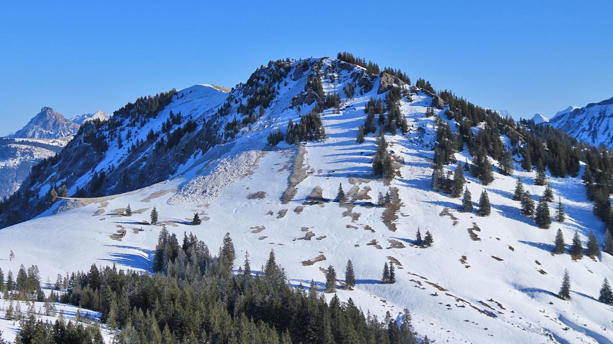 Ausblick vom Boaleskopf zum Spieser - im Hintergrund links der Große Hirschberg und am linken Bildrand der Aggenstein