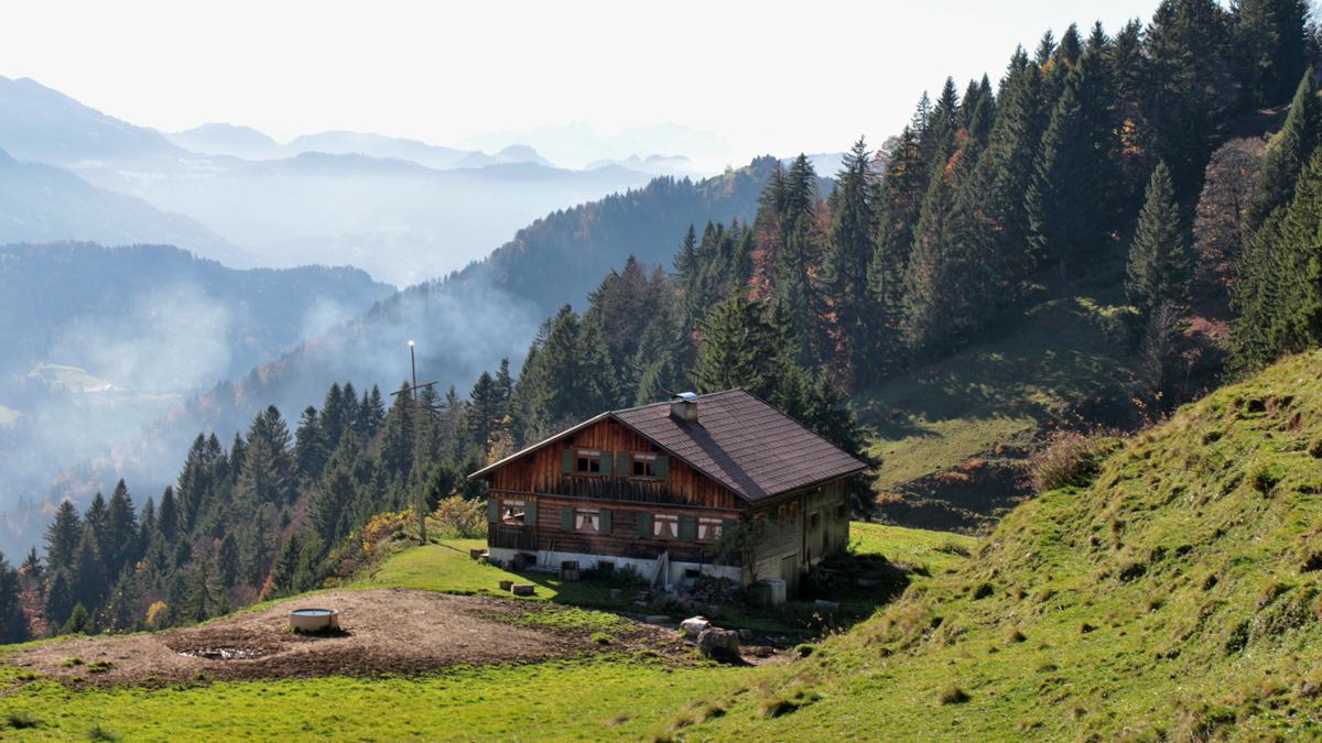 die Alpe Schrofen (Schrofenalpe) südwestlich des Koppachsteins