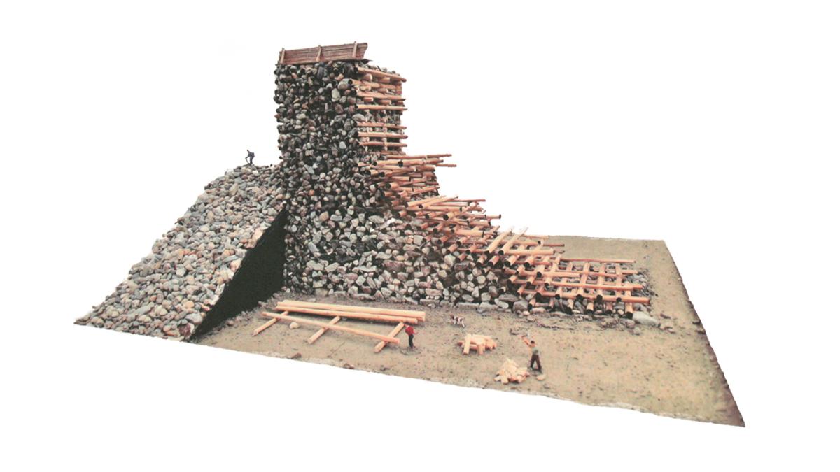 Rekonstruktion des keltischen Ringwalls zur Zeit der Erbauung